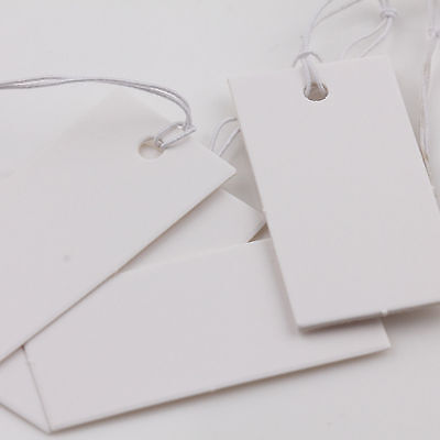 Lots 1000Pcs White Blank Paper String Price Tags Jewelry Clothing Labels 40x20mm