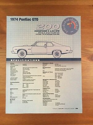 1974 Pontiac Gto Specification Sheet Magazine Ad