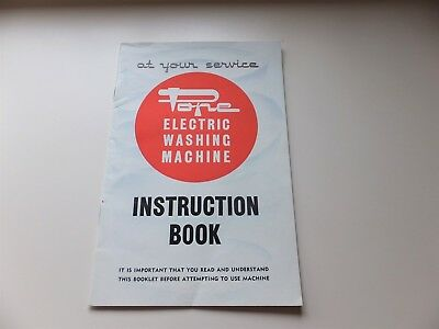 Vintage Pope Electric Washing Machine Instruction Book and Guide-Cover