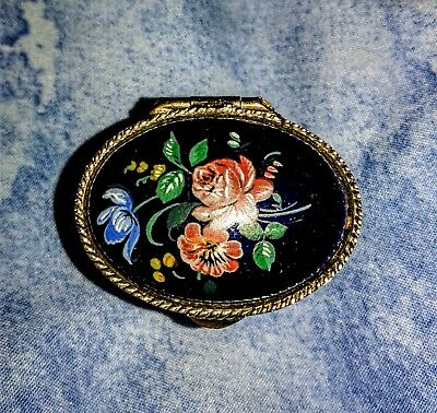 Vintage Made In Italy Collectible Pill Box Gold Tone Blue Enamel w/Roses