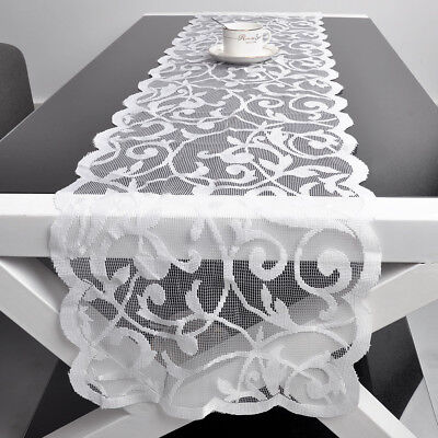White Vintage Lace Table Runner Dresser Scarf Wedding Floral Pattern 13x72inch