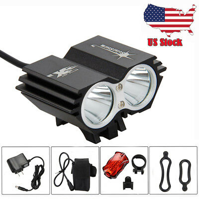 5000Lm 2x T6 LED  SolarStorm Bicycle Bike Front Head Light Battery+Taillight+CH