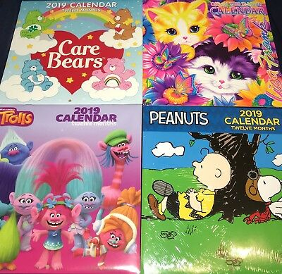2019 CALENDARS! Choose ONE! Care Bears, The Peanuts/Snoopy, TROLLS, Lisa Frank!