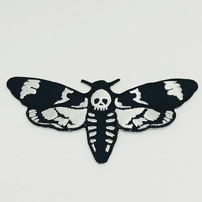 Moth Patch — Iron On Badge Embroidered Motif — Skull Satanic Goth Emo Biker