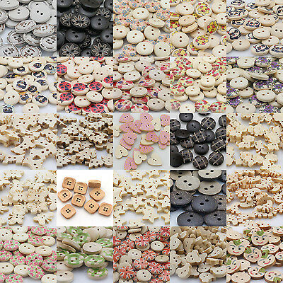 Wood Lot Shape Handmade 2/4 Holes Wooden Buttons Sewing Scrapbooking DIY