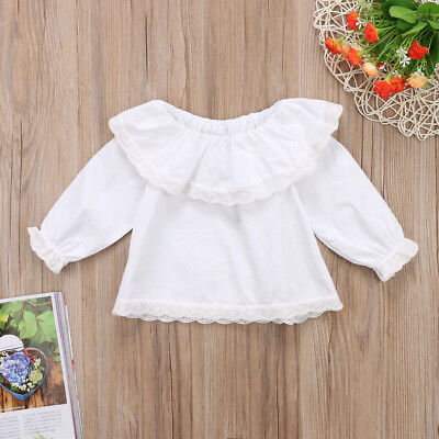 UK Stock Newborn Baby Girls Lace Off Shoulder Long Sleeve Tops T-shirt Clothes