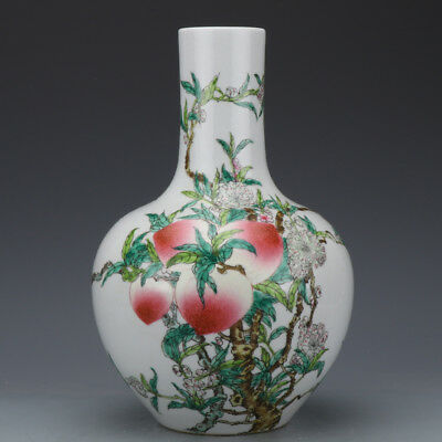 Beautiful Chinese Antique Famille Rose Porcelain big Tian ball Vase with Mark