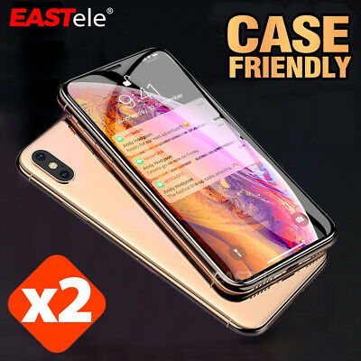 2x EASTele iPhone XS Max XR 8 7 6s Plus 5s Tempered Glass Screen Protector Apple