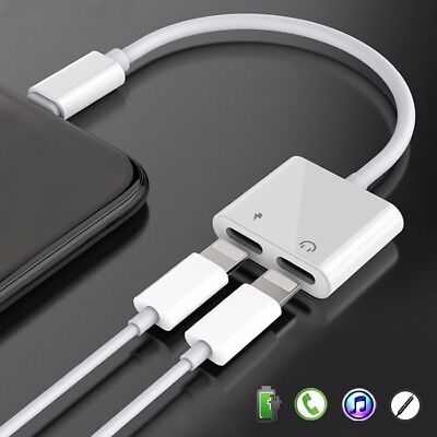 Dual Lightning Charging and Earphone Jack Charger Adapter Cable For iPhone 7 8 X