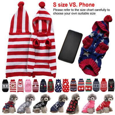 Pet Dog Cat Christmas Warm Coat Jumper Knit Sweater Hoodie Clothes Festive Gift