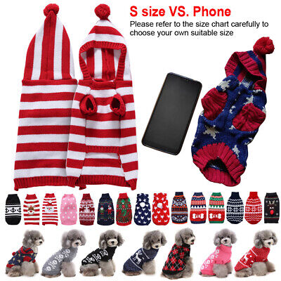 Small Pet Dog Cat Christmas Chihuahua Coat Jumper Knit Sweater Hoodie Clothes
