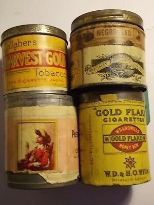 4 Old Empty Cigarette & Tobacco Picture Tins. Gold Flake, Passing Cloud etc