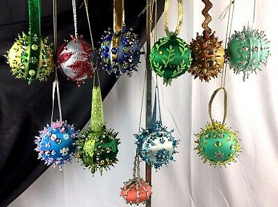 Vintage Sequin Beaded Sparkle Christmas Ornaments Handmade 10 Pc Lot