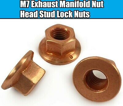 50x M7 Exhaust Manifold Nuts For BMW E36~ 3 Series Copper Hex Head Stud Lock Nut
