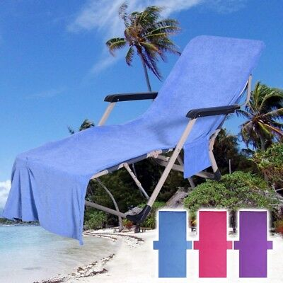 Soft Beach Towel Chair Lounger Cover Mate Garden Swimming Pool Sunbath Accessory