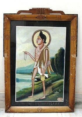 Antique Old Collectible Water Painting Of A  Saint with Animal Skin on Solder