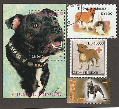 PIT BULL TERRIER  ** Int'l Postage Stamp Collection**Great Pitbull Gift Idea **