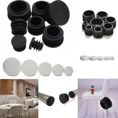 Round Plastic Black / White Blanking End Cap Caps Tube Pipe Inserts Plug Bung AU
