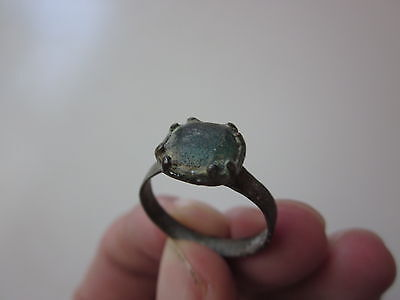 ancient late Roman / Byzantine bronze ring, decorated with glass bead. 8-10 A.D.