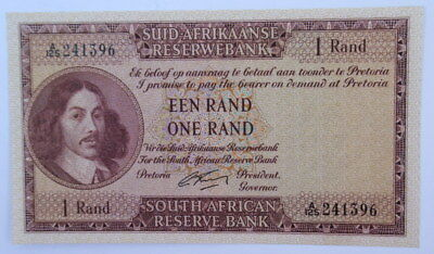 South Africa 1 Rand Signed G Rissik 1st Issue 1962 Uncirculated Condition #Cb10