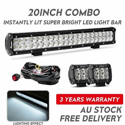 20inch Philips LED Light Bar Spot Flood Offroad Driving Work Lamp +Free 4inch