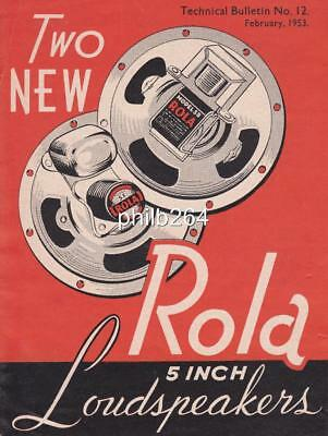 Rola 5 inch loudspeaker 1953 advertising promotional brochure