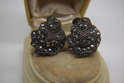 Lovely Antique Art Deco Solid Silver & Marcasite Clip On Rose Earrings