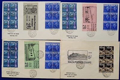 1965 Malta FDC First Day Cover Historic Definitive Issue Stamp Booklets Set of 4