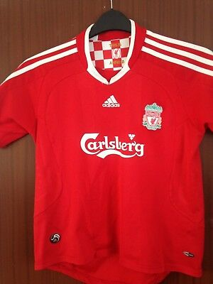 """Official Liverpool FC Red Home Shirt 2008 2009 2010 Adidas Size XXS 32"""" YNWA"""