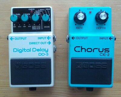 Boss DD3 & CE2 1989 Digital Delay MIJ & Chorus MIT effects pedals Vintage Japan