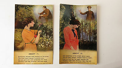 """Set Of 2 WW1 Great War Vintage Song Postcards No 4861 """"Absent"""" To Soldier Tommy"""