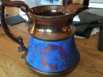 Vintage copper lustre 6inch jug with blue decoration in good condition