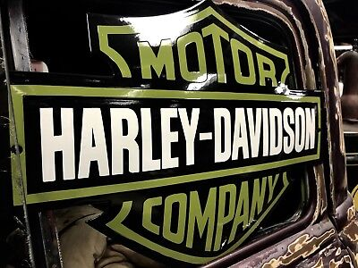 Vintage Old Harley Davidson Dealer Porcelain Bar & Shield Sign Army Green Rare