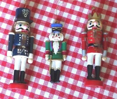 """3 different Vintage """"NUTCRACKERS""""  Xmas Hanging Ornaments made of Wood, PRE-OWN"""