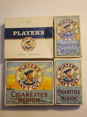 4 Old Different PLAYERS Empty Cigarette Packets. VG