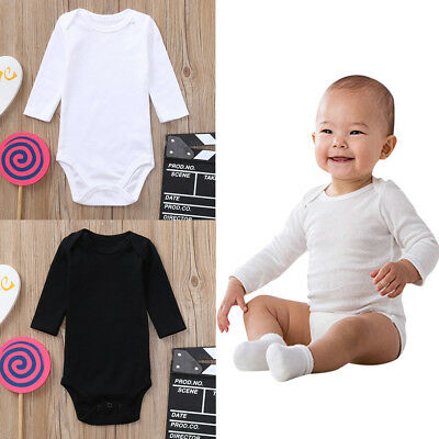 Newborn Toddler Infant Baby Girl Boys Long Sleeve Bodysuit Romper Jumpsuit Solid