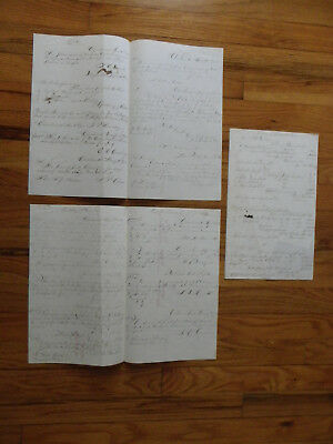 Antique 1854 Loose Business Pages-Receipts-Invoices-Orders-All Together on Page