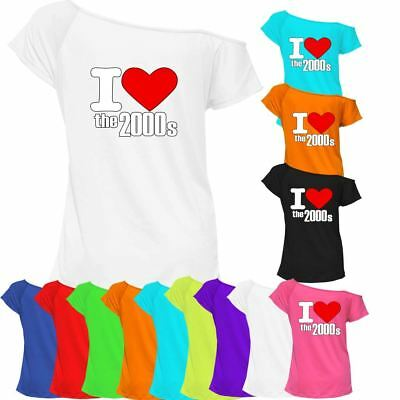 I Love The 2000s T-shirt Top Off Shoulder Womens 90's Retro Outfit Tee 6826 Lot