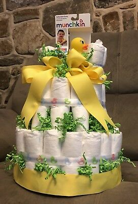Gender Neutral 3 Tier Diaper Cake, Baby Shower, 🇺🇸 Crafted & Sold
