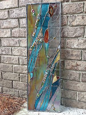 Stained Glass Contemporary Divider Transom Window Modern Panel  Screen OOAK