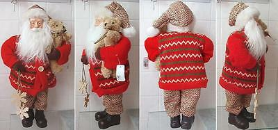 "Standing Santa Claus figurine Holding Bear & Snowflakes 18"" Tall wearing Sweater"