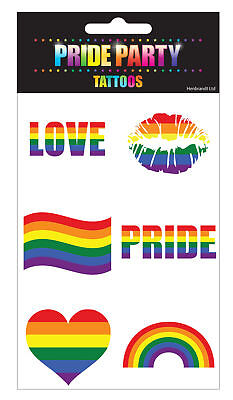6 Rainbow Pride Tattoos - Gay Lesbian LGBT Parade Freedom Colour Temporary