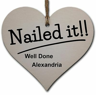 Personalised Handmade Wooden Hanging Heart Plaque Gift Well done on Passing Your