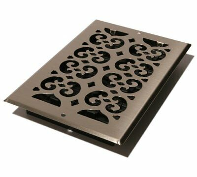 Brushed Nickel Steel Scroll Wall Register 6x10 Decorative Vent Cover 1-Way Grate