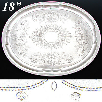 """Fab Antique Austrian .800 (nearly sterling) Silver 18x14"""" Tray, Ornate Engraved"""