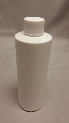NEW Cylinder Round Ultralight HDPE Plastic Storage Bottle w/Lid 8oz White