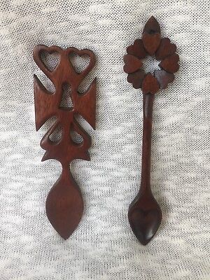 Vintage Set of 2 Wooden Welsh Love Spoons ~ Hand-Carved in Wales