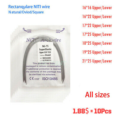 10Pcs Dental Orthodontic NITI Super Elastic Rectangular Arch Wires All Size
