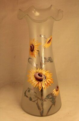 "Antique Frosted Art Glass Enamel Sunflower Mont Joye 11¾"" Art Nouveau Vase"