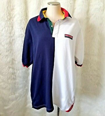 9c1d74c2 VTG Tommy Hilfiger B92 Sailing Gear Spell out Color block Polo Shirt XL 90s  flag